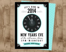 New Years Eve Printable Invitation - Clock Strikes Midnight - skinny chevron back