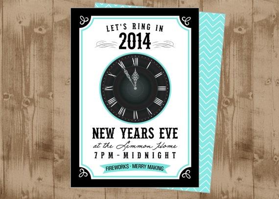 New Years Eve Printable Invitation Clock Strikes Midnight