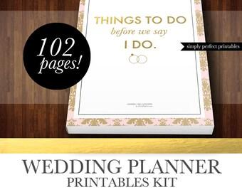 Wedding Planner Kit - PDF Digital Printables for Planning Binder - Instant Download - Blush and Gold Damask