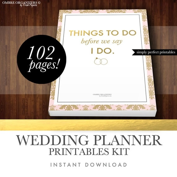 Wedding planner kit pdf digital printables for planning for Diy wedding binder templates