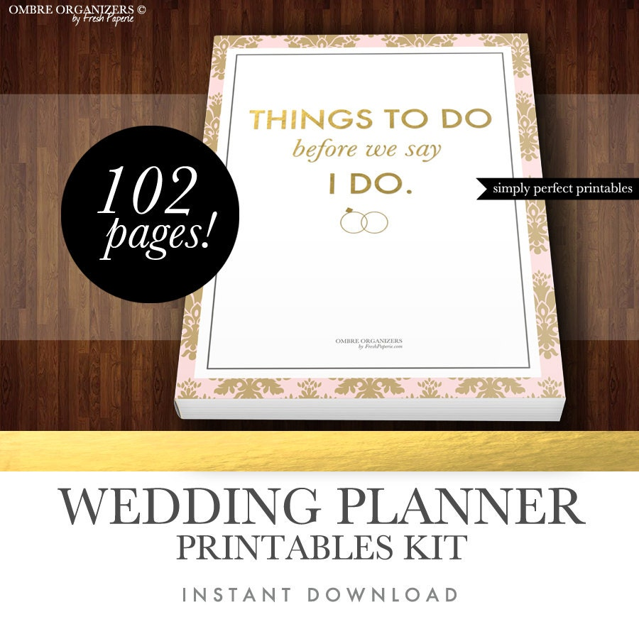 Wedding Planner Kit PDF Digital By FreshPaperiePlanners On