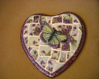 Wall hanging Heart Mosaic Violet China Porcelain Butterfly (handpainted)