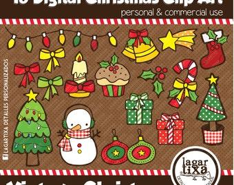 18 clip art Vintage Christmas by Lagartixa use commercial