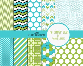 Digital scrapbooking paper (Blue, Green, and White retro background papers) 8.5x11 -INSTANT DOWNLOAD