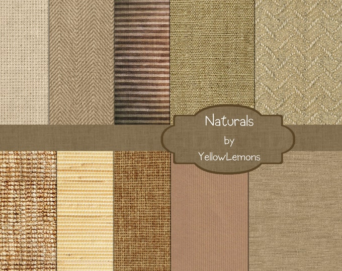 "INSTANT DOWNLOAD- Linen, Burlap, natural fiber, Neutral colors background Digital Scrapbooking Paper Pack, 12""x12"", 300 dpi .jpg"