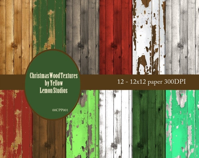 Christmas Papers Wood Digital: Christmas digital wood paint peeling, shabby, rustic invitations, wedding, scrapbooks, cards, paper crafts