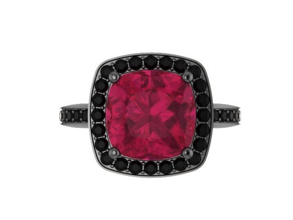 Ruby Engagement Ring Ruby Ring Black Diamond Wedding Ring 14K