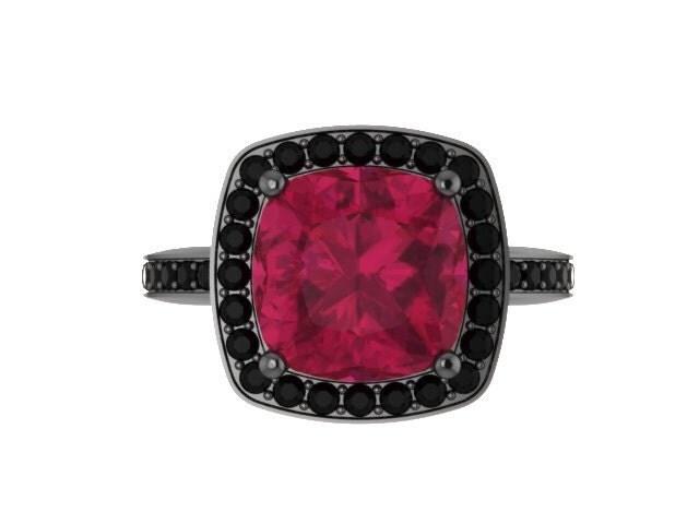 Ruby Engagement Ring Ruby Ring Black Diamond Wedding Ring 14K