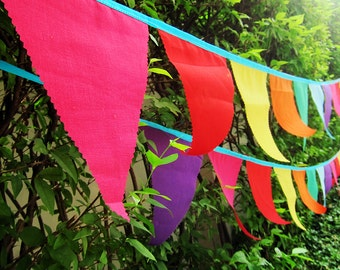 colored bunting FREE SHIPPING Pennant Garland Banner - prayer flags - wedding bunting - circus flags - outdoor bunting photo prop