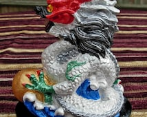 Handmade FENG SHUI Ceramic Dragon Hand Painted WHITE small gemstone cabochon in mouth, 10cm x 8cm and available in 9 Colours of the Bagua