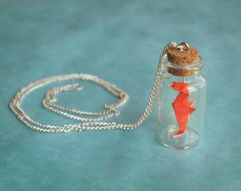 Personalized necklace - Little origami seahorse bottle