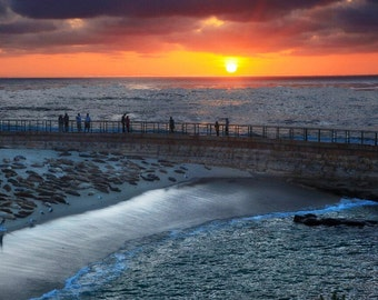 Breakwater at Sunset - Pacific Coast