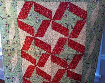 Festive Christmas quilt, candy canes, snowmen, snowflakes