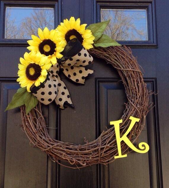 sunflower wreath monogrammed wreath summer wreath yellow