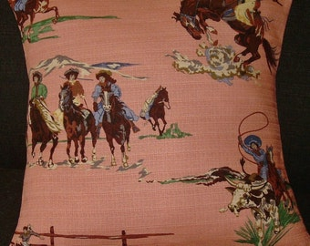 """Western Barkcloth Pillow Cover """"Go Cowgirl Go"""" 1950's 20"""" Cowboy Cowgirl Rodeo"""