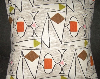 "Atomic Pillow Cover 1950's Barkcloth ""Voyage"" Retro Eames Era  Mad Men"