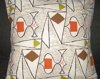 "Atomic Pillow Cover 1950's Barkcloth ""Voyage"" Retro Eames Era  Mad Men"