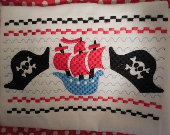 Pirate Ship Hat Faux Smocking Custom Tee