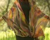 Brown tunic, Hand painted silk cape brown abstract sarong.
