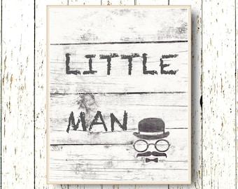 Little man nursery art print - Kids art Boys room playroom decoration mustache - children's art - black white gray nursery art 8x10 or 11x14
