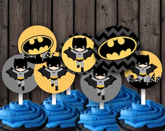 Batman cupcake toppers, batman party supplies, printable, instant download
