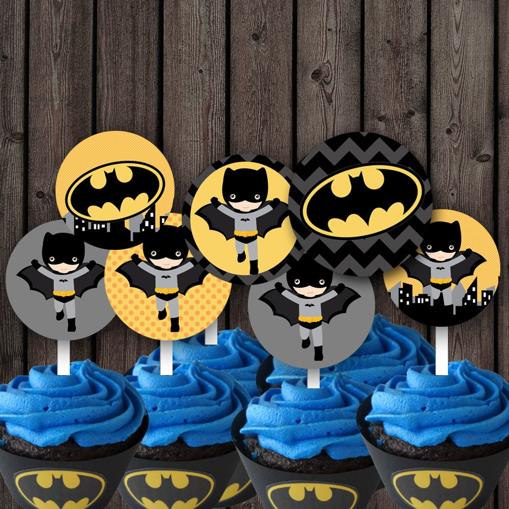 It is an image of Dynamite Batman Cupcake Toppers Printable
