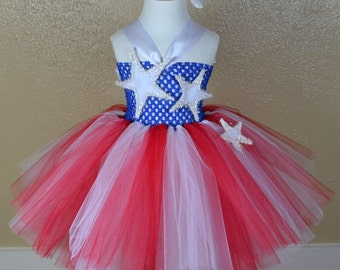 Red White Blue Tutu Dress - Little Miss America Girls Ballerina Style Tutu Dress for Birthdays, Pageants, Photos