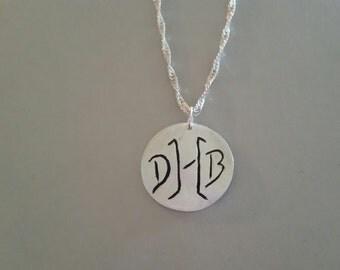 Monogram custom made fine silver necklace