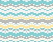 Little Ark Ark Chevron Aqua- Riley Blake Aqua gray and yellow chevron fabric- 1 yard