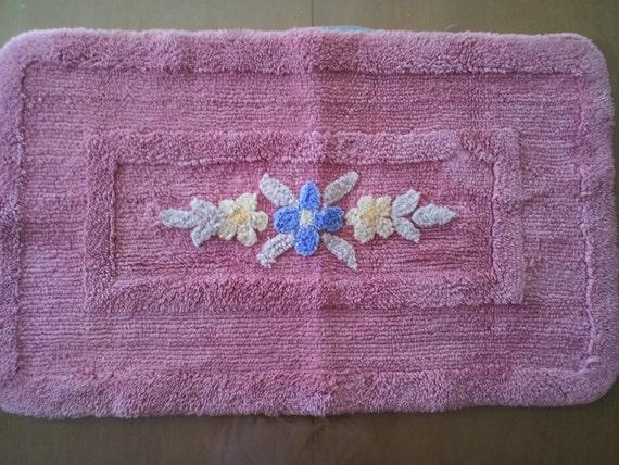 vintage chenille bathroom rug cotton peachy by lazysusanvintage