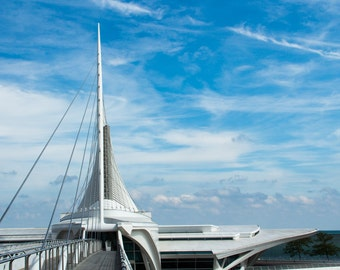 Milwaukee Art Museum Wisconsin Fine Art Santiago Calatrava Blue Sky Clouds Photo Print Home Wall Decor by Rose Clearfield on Etsy