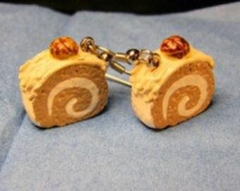Coffee Swiss Roll earrings on silver French hooks