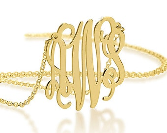 Gold Monogram Necklace 1 Inch - 18K Gold Plated - Gift For Her