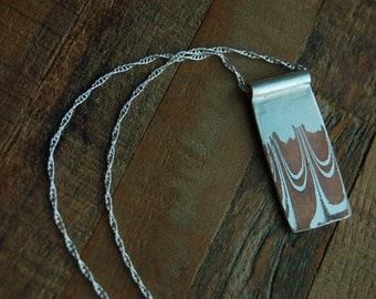 Mokume Gane Rectangle Pendant Necklace
