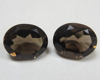 9x11mm SMOKY QUARTZ Faceted Oval pair top cut faceted gemstone.....
