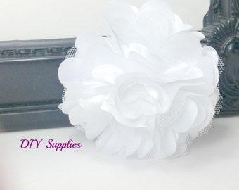 "3"" White satin tulle flower - diy wedding flowers - fabric flowers - wholesale flowers - hair bow supplies - satin flower - tulle flower"
