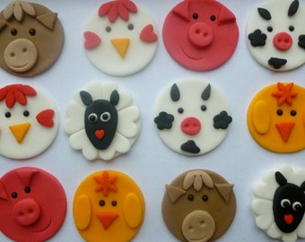 Fondant Farmyard Animal Cupcake Toppers - Horse, pig, chicken, sheep - Custom made