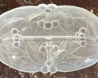 """Vintage Frosted Glass Divided Dish with Cherry & Leaf Design, 10"""" by 6.5"""" Long 3 Section Serving Tray SMPOST"""