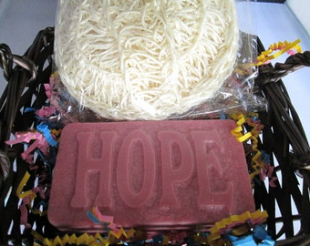 HOPE soap. Hope gift set with word on top, pink, large mocha soap for strength and encouragement,  new basket, with massage loofah