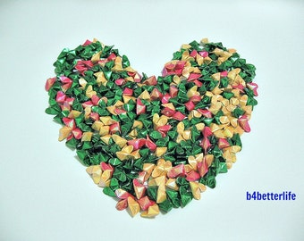 "600pcs Medium Size 3D Origami Hearts ""LOVE"" In 3 Different Colors. (RS paper series)."