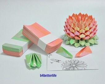 A Medium Size Orange Color Origami Lotus plus 300 sheets of DIY Paper Folding Kit. (AV Paper Series). #LPK-10.