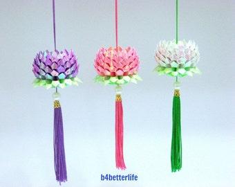 Lot of 3pcs Mini Size Origami Hanging Lotus In 3 Different Colors. (AV paper series). #FLT-128.