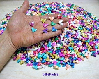 """3,500pcs Mini Size 3D Origami Hearts """"Love"""" in Assorted Colors. (TX paper series). #FOH-107. Free Shipping !"""