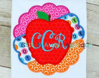 Scallop Apple Back to School Machine Applique Design