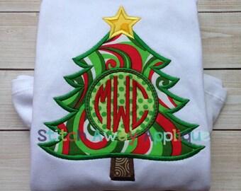 Monogram Circle Christmas Tree Machine Applique Design