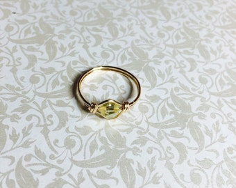 Yellow crystal wire wrapped ring