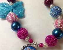 """Frozen Anna Necklace Inspired Chunky Bubblegum Bead Necklace """"Ready to Ship"""""""