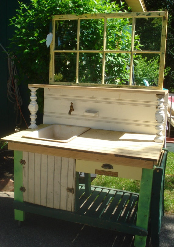 Potting Bench W Porcelain Enamel Antique Fully Plumbed