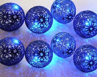 Fairy Night Lights, Navy blue String Lights, Wedding Lighting, Bedroom Decor lamps, 20 Crocheted  balls, garland light