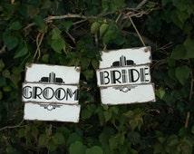 Bride and Groom, Great Gatsby, themed chair signs